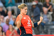 Wicket - Katherine Brunt of England celebrates taking the wicket of Beth Mooney of Australia during the 3rd Vitality International T20 match between England Women Cricket and Australia Women at the Bristol County Ground, Bristol, United Kingdom on 31 July 2019.