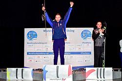 Podium, Slalom at the WPAS_2019 Alpine Skiing World Cup, Morzine, France