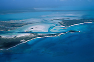 Rum Cay and coral reefs from the air,tide flats, Long Island, Bahamas