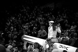 Competitive eater Molly Schuyler enter the arena, sitting on a cannon, ahead of the Wing Bowl XXIV chicken wing eating contest at Wells Fargo Center in Philadelphia, PA., on February 5, 2016.