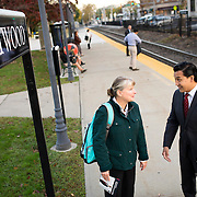October 17, 2014 - Westwood, N.J. : Democrat Roy Cho, right, chats with commuter Angela Costello, foreground center, as he campaigns at the Westwood NJ Transit station on Friday morning. A candidate for Congress from NJ's 5th District, Cho is challenging Rep. Scott Garrett in the upcoming November elections. CREDIT: Karsten Moran for The New York Times