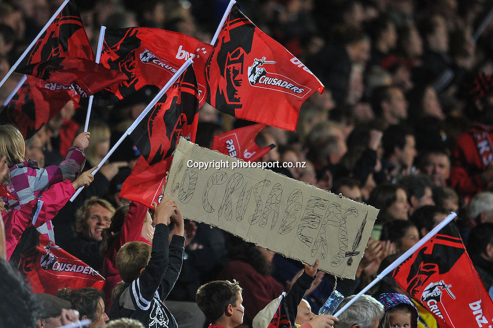 Fans in the Super Rugby game, Crusaders v Hurricanes, 28 March 2014. Photo:John Davidson/photosport.co.nz
