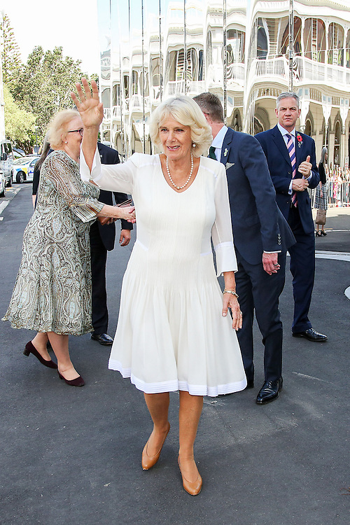 Camilla, Duchess of Cornwall waves to members of the public during a visit to the Len Lye Centre, New Plymouth, New Zealand, New Zealand, Monday, November 09, 2015. Credit:SNPA / Getty, Hagen Hopkins  **POOL**