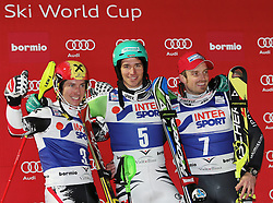 06.01.2014, Stelvio, Bormio, ITA, FIS Ski Alpin Weltcup, Bormio, Salom, Herren, Siegerpraesentation, im Bild v l n r Marcel Hirscher (AUT, 2 Platz), Felix Neureuther (GER, 1 Platz), Manfred Moelgg (ITA, 3 Platz) // f l  t  r 2nd place Marcel Hirscher of Austria and 1st place Felix Neureuther of Germany and 3rd place Manfred Moelgg of Italy celebrate on Podium after mens Slalom of the Bormio FIS Ski World Cup at the Stelvio Course in Bormio, Italy on 2014/01/06. EXPA Pictures © 2014, PhotoCredit: EXPA/ Sammy Minkoff<br /> <br /> *****ATTENTION - OUT of GER*****