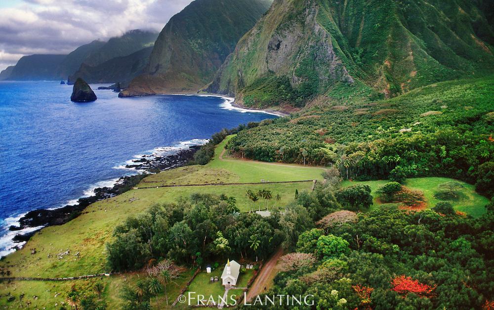 Leper colony (aerial), Molokai, Hawaii
