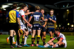 Nick David of Worcester Cavaliers celebrates with teammates after scoring a try - Mandatory by-line: Robbie Stephenson/JMP - 24/09/2018 - RUGBY - Sixways Stadium - Worcester, England - Worcester Cavaliers v Sale Jets - Premiership Rugby Shield