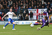 Bury Forward, Ryan Lowe shoots during the Sky Bet League 1 match between Bury and Doncaster Rovers at the JD Stadium, Bury, England on 9 April 2016. Photo by Mark Pollitt.