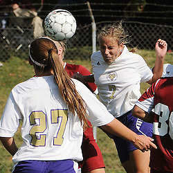 Photos by Tom Kelly IV<br /> WCU's Carly Yost (7) gets a head on the ball from a corner kick and buries it in the back of the net for a goal during the Indiana University of Pennsylvania (IUP) vs West Chester University (WCU) women's soccer game in East Bradford Township, Wednesday afternoon October 2, 2013.