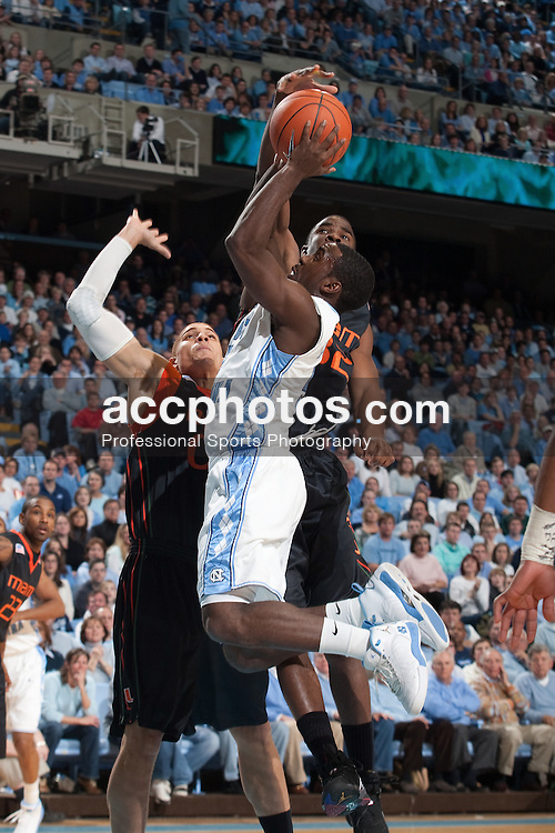17 January 2009: North Carolina Tar Heels guard Ty Lawson (5) during a 82-65 win over the Miami Hurricanes at the Dean Smith Center in Chapel Hill, NC.
