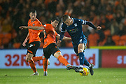 30th August 2019; Dens Park, Dundee, Scotland; Scottish Championship, Dundee Football Club versus Dundee United; Andrew Nelson of Dundee takes on Ian Harkes of Dundee United