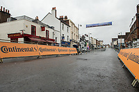 The finish line for the sprint in Dorking. The Prudential RideLondon Classic. Sunday 29th July 2018<br /> <br /> Photo: Thomas Lovelock for Prudential RideLondon<br /> <br /> Prudential RideLondon is the world's greatest festival of cycling, involving 100,000+ cyclists - from Olympic champions to a free family fun ride - riding in events over closed roads in London and Surrey over the weekend of 28th and 29th July 2018<br /> <br /> See www.PrudentialRideLondon.co.uk for more.<br /> <br /> For further information: media@londonmarathonevents.co.uk