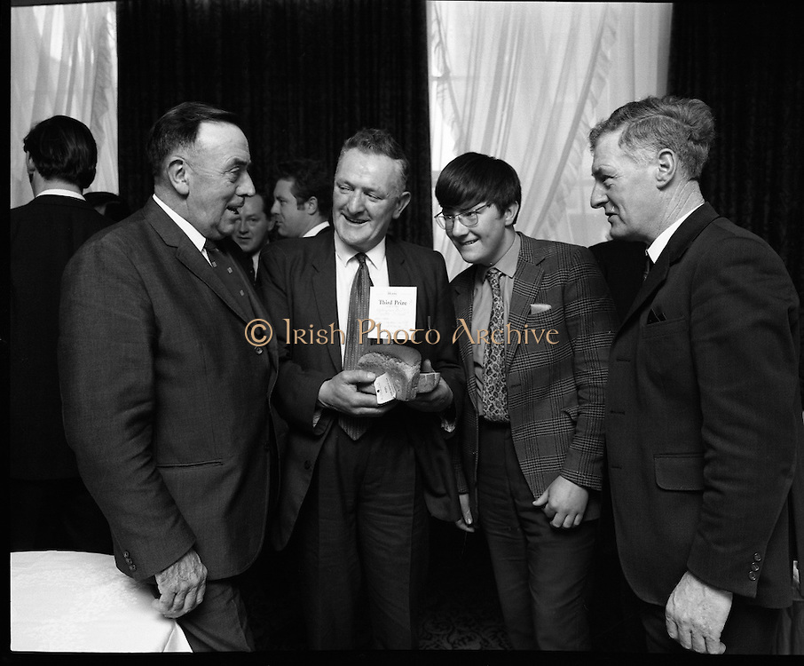 Hovis Family Bakery Competition..1971..23.02.1971..02.23.1971..23rd February 1971..At the Hibernian Hotel, Dublin, Ranks Ireland Ltd.,held the prize giving and celebration lunch for The Hovis Family Bakery Competition winners..Image of Mr R J Matthew, Director, Ranks Irl Ltd, Mr Dan Nelligan,Nelligans Bakery, Castleisland,Kerry, Mr Dan Nelligan Jr and Mr P P Walshe, Hovis Senior Representative.