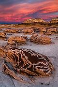 """Sunset on the """"Egg Garden"""". Bisti / De-Na-Zin Wilderness in northwest New Mexico."""