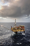 Offshore photography of Shell's Dunlin A Platform in the Northern North Sea.