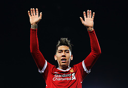 Roberto Firmino of Liverpool gestures - Mandatory by-line: Matt McNulty/JMP - 30/12/2017 - FOOTBALL - Anfield - Liverpool, England - Liverpool v Leicester City - Premier League