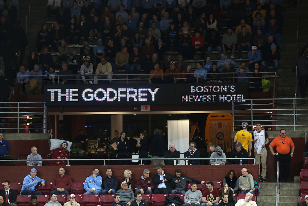 February 9, 2016, Chestnut Hill, MA:<br /> Sponsorship signage is shown during the Boston College men's basketball game against the University of North Carolina at Conte Forum in Chestnut Hill, Massachusetts Tuesday, February 9, 2016.<br /> (Photos by Billie Weiss/Fenway Sports Management)