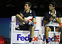 Tennis - 2018 Nitto ATP Finals at The O2 - Day Two<br /> <br /> Group Doubles Group Llodra/Santoro: Oliver Marach (AUT) & Mate Pavic (CRO) vs. Pierre - Hughes Herbert (FRA) & Nicolas Mahut (FRA)<br />  <br /> Nicolas Mahut struggles with an ankle injury in between games<br /> <br /> <br /> COLORSPORT/ANDREW COWIE