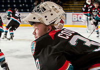 KELOWNA, CANADA - OCTOBER 18:  Jordon Cooke #30 of the Kelowna Rockets gets mentally prepared to play as the Prince George Cougars visit the Kelowna Rockets on October 18, 2012 at Prospera Place in Kelowna, British Columbia, Canada (Photo by Marissa Baecker/Shoot the Breeze) *** Local Caption ***