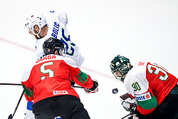 Robert Sabolic of Slovenia, Arnold Varga of Hungary and Adam Vay of Hungary during ice hockey match between Hunngary and Kazakhstan at IIHF World Championship DIV. I Group A Kazakhstan 2019, on May 3, 2019 in Barys Arena, Nur-Sultan, Kazakhstan. Photo by Matic Klansek Velej / Sportida