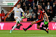 Lewis Cook (16) of AFC Bournemouth blocks a shot from Ander Herrera (21) of Manchester United during the Premier League match between Bournemouth and Manchester United at the Vitality Stadium, Bournemouth, England on 18 April 2018. Picture by Graham Hunt.