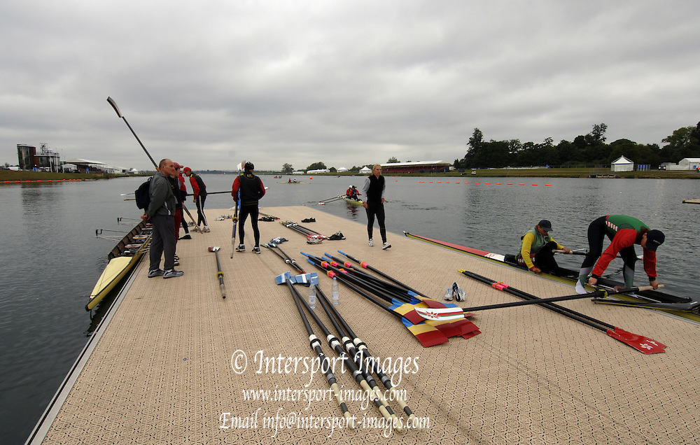 2005 FISA World Cup, Dorney Lake, Eton, ENGLAND, 25.05.05..GV's  - Course, landing stage docks and Boathouse.. Photo  Peter Spurrier.  email images@intersport-images...[Mandatory Credit Peter Spurrier/ Intersport Images] Rowing Course, Dorney Lake