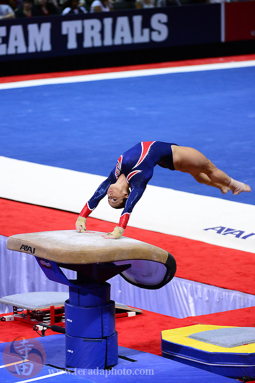 June 29, 2012; San Jose, CA, USA; Alicia Sacramone performs on the vault during the 2012 USA Gymnastics Olympic Team Trials at HP Pavilion.