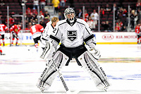 28 May 2014 Los Angeles Kings Goalie Jonathan Quick 32 warm Up Prior to The Start of The Game in Action during Game 5 of The Stanley Cup Playoffs Western Conference Final between The Los Angeles Kings and The Chicago Blackhawks AT The United Center in Chicago Il NHL Ice hockey men USA May 28 Stanley Cup Playoffs Western Conference Final Kings AT Blackhawks Game 5  <br />