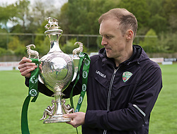 RHOSYMEDRE, WALES - Sunday, May 5, 2019: The New Saints' manager Scott Ruscoe with the trophy after the FAW JD Welsh Cup Final between Connah's Quay Nomads and The New Saints at The Rock. The New Saints won 3-0. (Pic by David Rawcliffe/Propaganda)