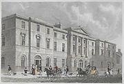 Engraving of Exchange Buildings, Leith, Scotland, 1830 drawn by Thomas H Shepherd