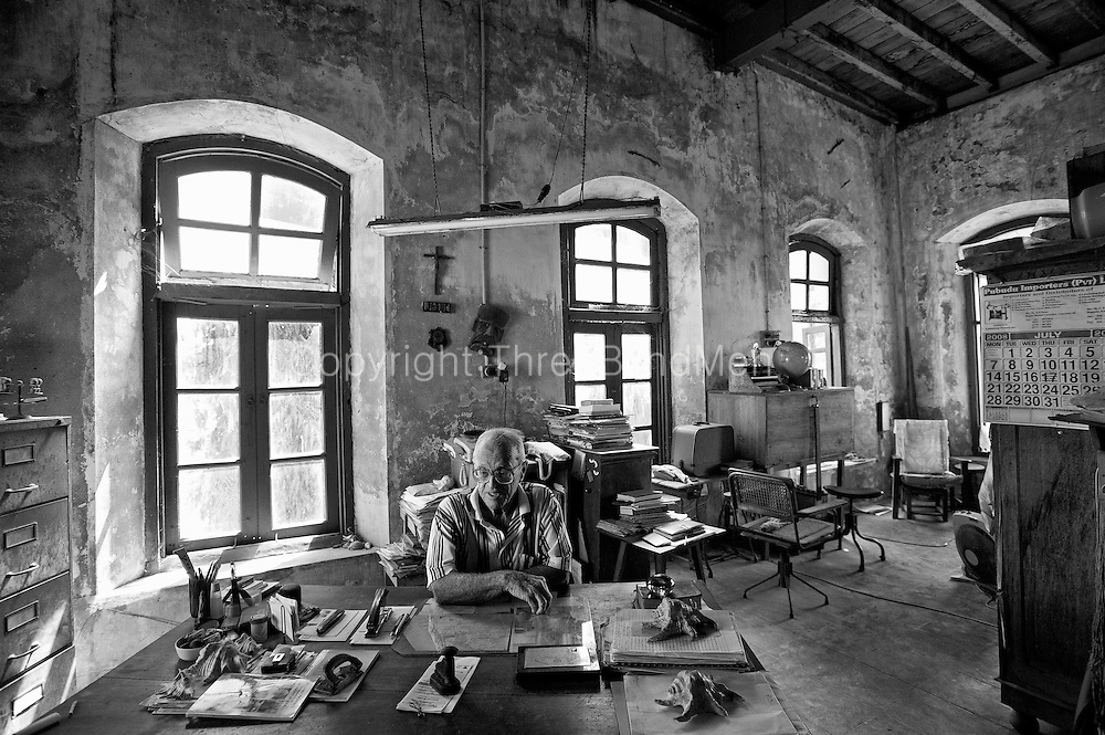 Fr. Harry Miller in his study.<br /> Batticaloa. Sri Lanka.
