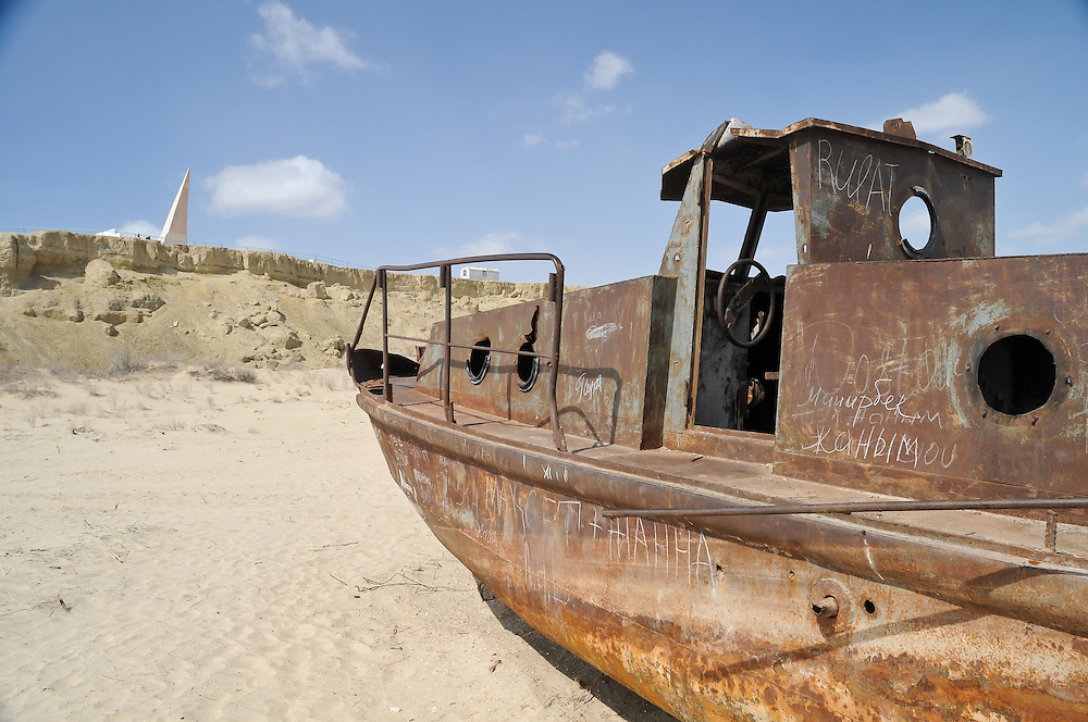 A collection of color images taken on the edge of the Aral Sea in Uzbekistan.