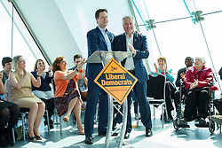 © Licensed to London News Pictures. 19/04/2015. Portsmouth, UK. Liberal Democrat leader Nick Clegg making a speech at Spinnaker Tower in Portsmouth Harbour to support Liberal Democrat candidate Gerald Vernon-Jackson on Sunday, 19 April 2015. Photo credit : Tolga Akmen/LNP