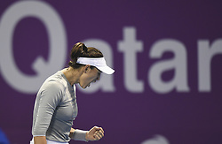 DOHA, Feb. 19, 2018  Garbine Muguruza of Spain reacts during the single's final match against Petra Kvitova of Czech Republic at the 2018 WTA Qatar Open in Doha, Qatar, on Feb. 18, 2018. Petra Kvitova won 2-1 to claim the title. (Credit Image: © Nikku/Xinhua via ZUMA Wire)