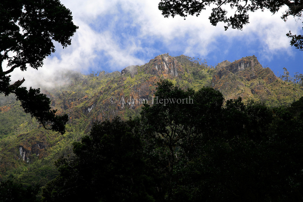 Mountain ridge Veintisquineros seen from main trail from San Gerardo, Chirripo National Park, Costa Rica.<br />