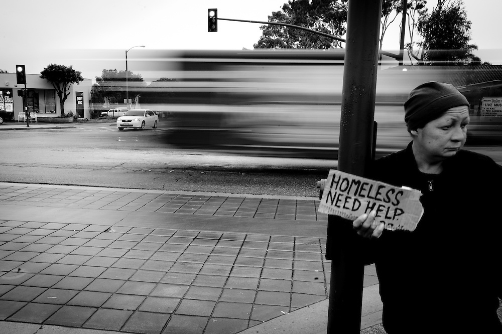 Sharon Loveless outside the Vons parking lot on Main Street in Ventura, Calif., Wednesday, Feb. 24, 2010. Like one of many homeless drifiting through Southern California, Sharon fought alcohol abuse as well as the other people that shared her situation. . (Photo by Aaron Schmidt/Brooks Institute © 2010)