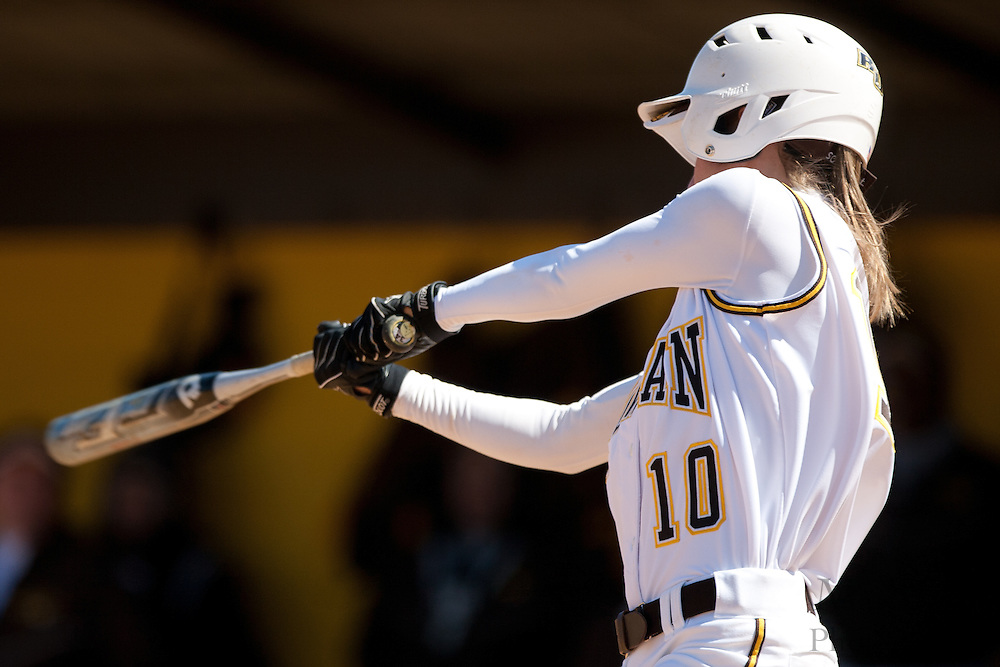 Rowan University senior infielder Ashley Landi (10) bats during the second game of a double header vs Swarthmore College.