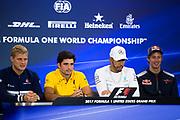 October 19-22, 2017: United States Grand Prix. Marcus Ericsson, Sauber F1 Team, C36, Carlos Sainz Jr. (SPA) Renault Sport Formula One Team, R.S. 17, Lewis Hamilton (GBR), Mercedes AMG Petronas Motorsport, F1 W08, Brendon Hartley (NZ), Scuderia Toro Rosso, STR12