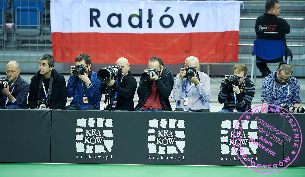 Photographer (2L) Andrzej Banas and (3L) Tomasz Jedrzejowski (Bauer Publishing) during First Day of the Fed Cup / World Group 1st round tennis match between Poland and Russia at Tauron Krakow Arena on February 7, 2015 in Cracow, Poland.<br /> <br /> Poland, Cracow, February 7, 2015<br /> <br /> Picture also available in RAW (NEF) or TIFF format on special request.<br /> <br /> For editorial use only. Any commercial or promotional use requires permission.<br /> <br /> Adam Nurkiewicz declares that he has no rights to the image of people at the photographs of his authorship.<br /> <br /> Mandatory credit:<br /> Photo by &copy; Adam Nurkiewicz / Mediasport