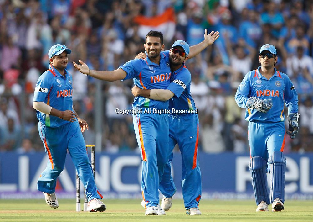 02.04.2011 Cricket World Cup Final from the Wankhede Stadium in Mumbai. Sri Lanka v India.Zaheer Khan of India celebrates the wicket of Chamara Kapugedera during the final match of the ICC Cricket World Cup between India and Sri Lanka on the 2nd April 2011