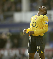 Photo: Aidan Ellis.<br /> Everton v Arsenal. The Barclays Premiership. 21/01/2006.<br /> Arsenal's Gilberto rues a missed chance