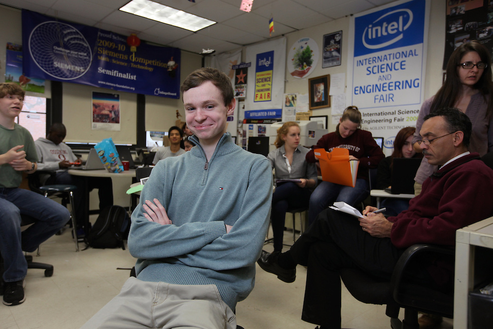Ossining High School senior Daniel McQuaid, 17, who recently submitted his entry in the Intel Science Talent Search, is photographed in the school's science research room. McQuaid is a regional finalist in the Siemens Foundation Competition in math, science and technology. (Nov. 13, 2012)