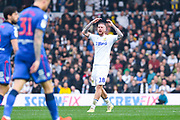 Pontus Jansson of Leeds United (18) urges on the Leeds United crowd during the EFL Sky Bet Championship match between Leeds United and Bolton Wanderers at Elland Road, Leeds, England on 23 February 2019.