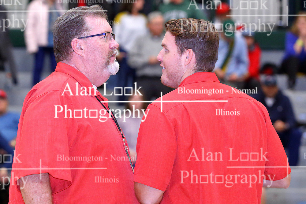30 December 2016: Dan and Chris Highland. Quincy Notre Dame v St. Joseph Ogden, State Farm Holiday Classic Coed Basketball Tournament at Shirk Center, Bloomington Illinois