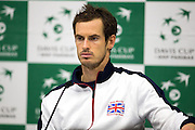 Andy Murray of Great Britain speaks to the press following his five sets defeat to Juan Martin del Potro of Argentina in the opening match of the Davis Cup Semi Final between Great Britain and Argentina at the Emirates Arena, Glasgow, United Kingdom on 16 September 2016. Photo by Craig Doyle.