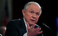 Senator Jeff Sessions answers questions during his confirmation hearing to become Attorney General.  The hearing was held in the Caucus Room of the Russell Senate Office Building on January 10, 2017.<br /> <br /> Photo by Dennis Brack