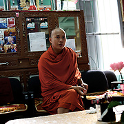 "May 14, 2013 - Mandalay, Myanmar: Ashin Wirathu, the buddhist monk leader of Burma's anti-Muslim movement 969 group, at his office in Mosayein Monastery in central Mandalay. Wirathu, who was jailed in 2003 for inciting religious hatred, refers to himself as ""the Burmese Bin Laden"". (Paulo Nunes dos Santos/Polaris)"