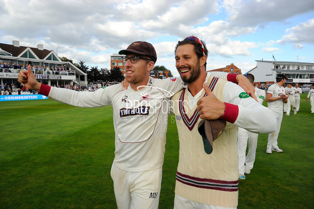 Jack Leach of Somerset and Peter Trego of Somerset on the parade around the County Ground after the win over Nottinghamshire in the Specsavers County Champ Div 1 match between Somerset County Cricket Club and Nottinghamshire County Cricket Club at the Cooper Associates County Ground, Taunton, United Kingdom on 22 September 2016. Photo by Graham Hunt.