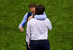 MOSCOW, RUSSIA - Wednesday, July 11, 2018: England's manager Gareth Southgate embraces Croatia's head coach Zlatko Dalić after the FIFA World Cup Russia 2018 Semi-Final match between Croatia and England at the Luzhniki Stadium. Croatia won 2-1 after extra-time. (Pic by David Rawcliffe/Propaganda)