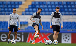 ROME, ITALY - Tuesday, May 1, 2018: Liverpool's Trent Alexander-Arnold (left), Danny Ings (centre) and Andy Robertson (right) during a training session at the Stadio Olimpico ahead of the UEFA Champions League Semi-Final 2nd Leg match between AS Roma and Liverpool FC. Liverpool lead 5-2 from the 1st Leg. (Pic by David Rawcliffe/Propaganda)
