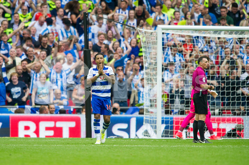 Liam Moore of Reading despairs after he misses the penalty during the EFL Sky Bet Championship Play-Off Final match between Huddersfield Town and Reading at Wembley Stadium, London, England on 29 May 2017. Photo by Salvio Calabrese.